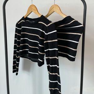 Forever 21 Matching Long Sleeve Stripe Skirt Set